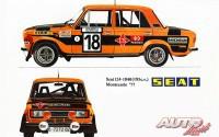 Los SEAT 124/1.800 pilotados por Antonio Zanini y Salvador Cañellas (el coche del dibujo) en el Rallye de Montecarlo de 1977 tenían preparación de Grupo 4 y su motor rondaba los 200 CV de potencia.