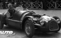 Tazio Nuvolari durante las Mille Miglia de 1948, al volante de un Ferrari 166 Spider.