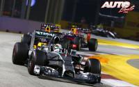 Hamilton y su copiloto. GP de Singapur 2014
