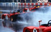 Salida de los tres Ferrari 312 P durante los 1.000 Kilómetros de Monza de 1972. El nº 1 pilotado por Jacky Ickx y Clay Regazzoni, el nº 2 por Ronnie Peterson y Tim Schenken y el nº 3 por Arturo Merzario y Brian Redman.