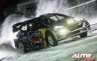Sébastien Ogier, al volante del Ford Fiesta WRC, durante el Rallye de Suecia 2017, puntuable para el Campeonato del Mundo de Rallyes WRC.