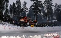 Mads Ostberg, al volante del Ford Fiesta WRC, durante el Rallye de Suecia 2017, puntuable para el Campeonato del Mundo de Rallyes WRC.