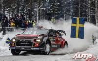 Craig Breen, al volante del Citroën C3 WRC, durante el Rallye de Suecia 2017, puntuable para el Campeonato del Mundo de Rallyes WRC.