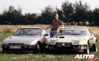 Walter Röhrl entre el Porsche 924 Turbo de calle y el Porsche 924 Carrera GTS de carreras en 1981.