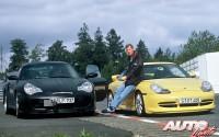 Walter Röhrl durante una jornada de pruebas con el Porsche 911 Turbo y el Porsche 911 GT3 de la Serie 996 en 1999.