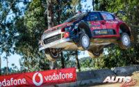 Mads Ostberg, al volante del Citroën C3 WRC, durante el Rally de Portugal 2018, puntuable para el Campeonato del Mundo de Rallies WRC.