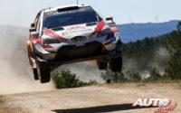 Esapekka Lappi, al volante del Toyota Yaris WRC, durante el Rally de Italia 2018, puntuable para el Campeonato del Mundo de Rallies WRC.