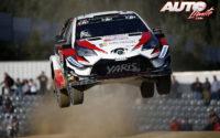 Ott Tänak, al volante del Toyota Yaris WRC, durante el Rally de Portugal 2018, puntuable para el Campeonato del Mundo de Rallies WRC.