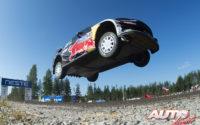 Teemu Suninen, al volante del Ford Fiesta WRC, durante el Rally de Finlandia 2018, puntuable para el Campeonato del Mundo de Rallies WRC.