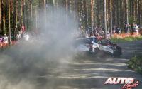 Esapekka Lappi, al volante del Toyota Yaris WRC, durante el Rally de Finlandia 2018, puntuable para el Campeonato del Mundo de Rallies WRC.