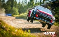 Mads Ostberg, al volante del Citroën C3 WRC, durante el Rally de Finlandia 2018, puntuable para el Campeonato del Mundo de Rallies WRC.