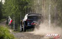 Sébastien Ogier, al volante del Ford Fiesta WRC, durante el Rally de Finlandia 2018, puntuable para el Campeonato del Mundo de Rallies WRC.