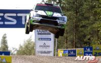 Kalle Rovanperä, al volante del Skoda Fabia R5 WRC2, durante el Rally de Finlandia 2018, puntuable para el Campeonato del Mundo de Rallies WRC2.