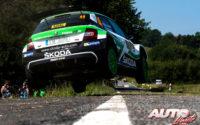 Kalle Rovanperä, al volante del Skoda Fabia R5 WRC2, durante el Rally de Alemania 2018, puntuable para el Campeonato del Mundo de Rallies WRC2.