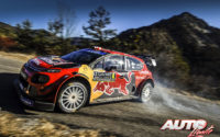 Esapekka Lappi, al volante del Citroën C3 WRC, durante el Rally de Montecarlo 2019, puntuable para el Campeonato del Mundo de Rallies WRC.