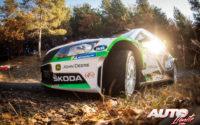 Kalle Rovanperä, al volante del Skoda Fabia R5 WRC2, durante el Rally de Montecarlo 2019, puntuable para el Campeonato del Mundo de Rallies WRC2.