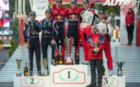 Podio del Rally de Montecarlo 2019, puntuable para el Campeonato del Mundo de Rallies 2019. De izquierda a derecha: Nicolas Gilsoul con Thierry Neuville (Hyundai), Julien Ingrassia con Sébastien Ogier (Citroën), Ott Tänak junto a Martin Järveoja (Toyota) y, en el suelo, Pierre Budar (Director de Citroën Racing).