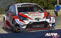 Ott Tänak, al volante del Toyota Yaris WRC, durante el Rally de Francia - Tour de Corse 2019, puntuable para el Campeonato del Mundo de Rallies WRC.