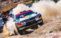Marco Bulacia, al volante del Skoda Fabia R5 WRC2, durante el Rally de México 2019, puntuable para el Campeonato del Mundo de Rallies WRC2.