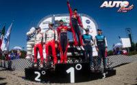 Podio del Rally de México 2019, puntuable para el Campeonato del Mundo de Rallies 2019. De izquierda a derecha: Martin Järveoja con Ott Tänak (Toyota), Julien Ingrassia con Sébastien Ogier (Citroën) y Elfyn Evans junto a Scott Martin (Ford).