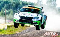 Kalle Rovanperä, al volante del Skoda Fabia R5 Evo WRC2, durante el Rally de Finlandia 2019, puntuable para el Campeonato del Mundo de Rallies WRC2.