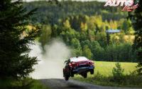 Sébastien Ogier, al volante del Citroën C3 WRC, durante el Rally de Finlandia 2019, puntuable para el Campeonato del Mundo de Rallies WRC.