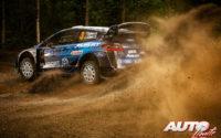 Teemu Suninen, al volante del Ford Fiesta WRC, durante el Rally de Finlandia 2019, puntuable para el Campeonato del Mundo de Rallies WRC.