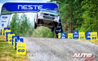 Emil Lindholm, al volante del Volkswagen Polo R5 WRC2, durante el Rally de Finlandia 2019, puntuable para el Campeonato del Mundo de Rallies WRC2.