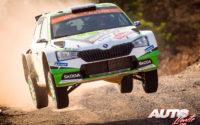 Kalle Rovanperä, al volante del Skoda Fabia R5 Evo WRC2, durante el Rally de Turquía 2019, puntuable para el Campeonato del Mundo de Rallies WRC2.