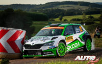 Jan Kopecký, al volante del Skoda Fabia R5 Evo WRC2, durante el Rally de Alemania 2019, puntuable para el Campeonato del Mundo de Rallies WRC2.