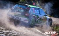 Kalle Rovanperä, al volante del Skoda Fabia R5 Evo WRC2, durante el Rally de España 2019, puntuable para el Campeonato del Mundo de Rallies WRC2.