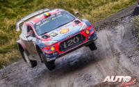 Thierry Neuville, al volante del Hyundai i20 Coupé WRC, durante el Rally de Gran Bretaña / Gales 2019, puntuable para el Campeonato del Mundo de Rallies WRC.