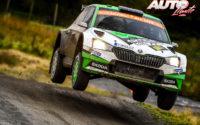 Kalle Rovanperä, al volante del Skoda Fabia R5 Evo WRC2, durante el Rally de Gran Bretaña / Gales 2019, puntuable para el Campeonato del Mundo de Rallies WRC 2.
