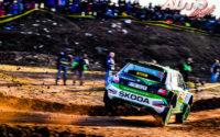 Jan Kopechý, al volante del Skoda Fabia R5 Evo WRC2, durante el Rally de España 2019, puntuable para el Campeonato del Mundo de Rallies WRC2.