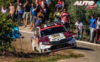 Pierre-Louis Loubet, al volante del Skoda Fabia R5 WRC2, durante el Rally de España 2019, puntuable para el Campeonato del Mundo de Rallies WRC2.