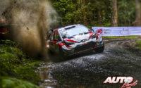 Kris Meeke, al volante del Toyota Yaris WRC, durante el Rally de Gran Bretaña / Gales 2019, puntuable para el Campeonato del Mundo de Rallies WRC.