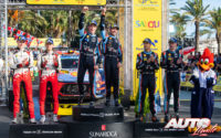Podio del Rally de España 2019, puntuable para el Campeonato del Mundo de Rallies 2019. De izquierda a derecha: Ott Tänak y Martin Järveoja (Toyota), Thierry Neuville con Nicolas Gilsoul (Hyundai) y Dani Sordo junto a Carlos Del Barrio (Hyundai).