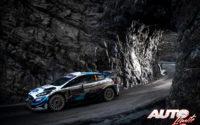 Teemu Suninen, al volante del Ford Fiesta WRC, durante el Rally de Montecarlo 2020, puntuable para el Campeonato del Mundo de Rallies WRC.