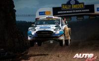 Esapekka Lappi, al volante del Ford Fiesta WRC, durante el Rally de Suecia 2020, puntuable para el Campeonato del Mundo de Rallies WRC.