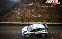 Esapekka Lappi, al volante del Ford Fiesta WRC, durante el Rally de Montecarlo 2020, puntuable para el Campeonato del Mundo de Rallies WRC.