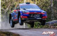 Jari Huttunen, al volante del Hyundai NG i20 R5 WRC3, durante el Rally de Suecia 2020, puntuable para el Campeonato del Mundo de Rallies WRC 3.