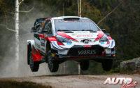 Sébastien Ogier, al volante del Toyota Yaris WRC, durante el Rally de Suecia 2020, puntuable para el Campeonato del Mundo de Rallies WRC.