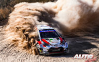 Elfyn Evans, al volante del Toyota Yaris WRC, durante el Rally de México 2020, puntuable para el Campeonato del Mundo de Rallies WRC.