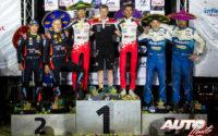 Podio del Rally de México 2020, puntuable para el Campeonato del Mundo de Rallies WRC 2020. De izquierda a derecha: Martin Järveoja y Ott Tänak (Hyundai), Sébastien Ogier con Kaj Lindström (Director Deportivo de Toyota) y Julien Ingrassia (Toyota) y Teemu Suninen junto a Jarmo Lehtinen (Ford).