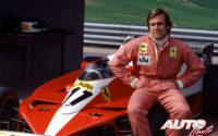 Carlos Reutemann durante la presentación del Ferrari 312 T3 con el que disputaron el Campeonato del Mundo de Fórmula 1 de 1978.