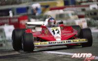 Gilles Villeneuve, al volante del Ferrari 312 T3, durante el GP de España de 1978, disputado en el circuito del Jarama.