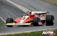 Gilles Villeneuve, al volante del Ferrari 312 T3, durante el GP de Gran Bretaña de 1978, disputado en el circuito de Brands Hatch.