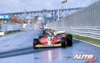 Gilles Villeneuve, al volante del Ferrari 312 T3, durante los entrenamientos en mojado del GP de Canadá de 1978, disputado en el circuito Isla de Notre Dame en Montreal.