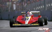 Gilles Villeneuve, al volante del Ferrari 312 T3, obtenía su primera victoria de Fórmula 1 en el GP de Canadá de 1978, disputado en el circuito Isla de Notre Dame en Montreal.