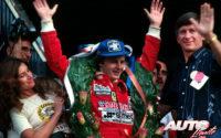 Gilles Villeneuve, al volante del Ferrari 312 T4, obtenía la victoria en el GP de Sudáfrica de 1979, disputado en el circuito de Kyalami.